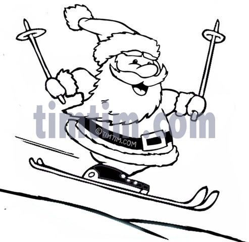 493x480 Free Drawing Of A Skiing Santa Bw From The Category Christmas