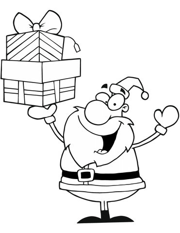 371x480 Santa Claus Holding Presents Coloring Page Free Printable