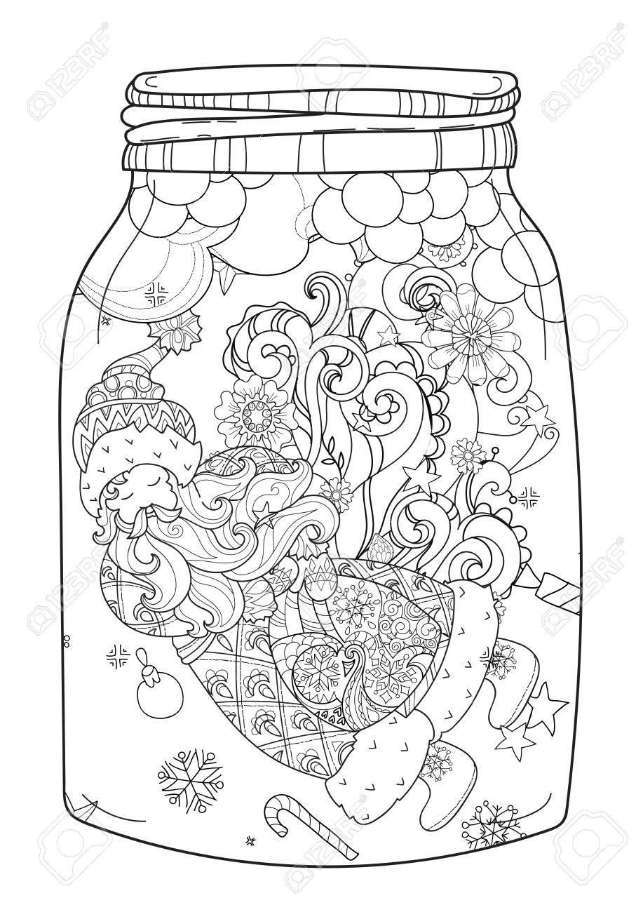 917x1300 Vector Cute Magic Glass Jar With Christmas Santa Claus Doodle