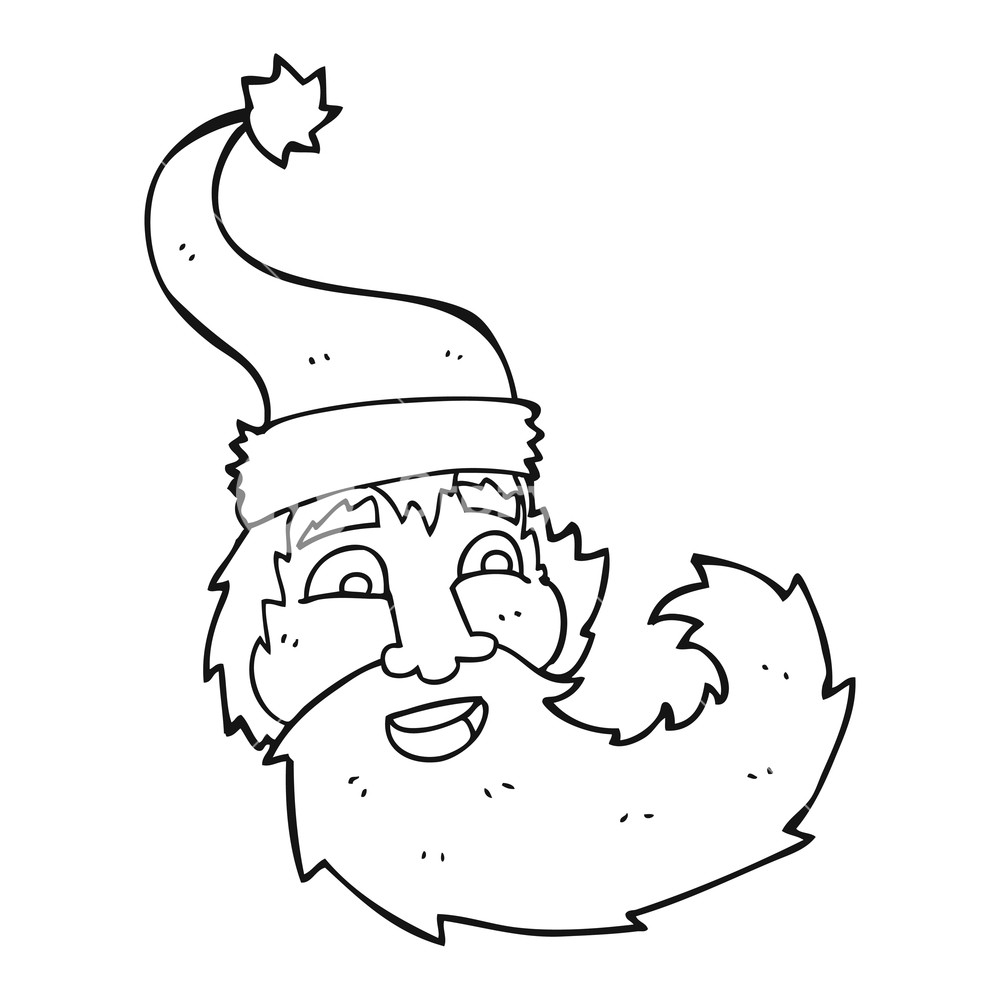 1000x1000 Freehand Drawn Black And White Cartoon Santa Claus Laughing