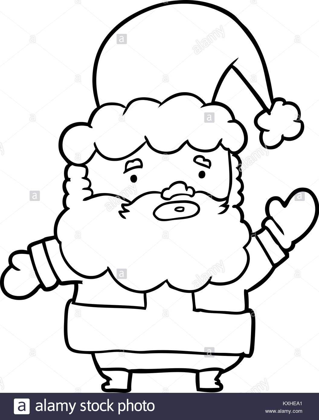 1056x1390 Line Drawing Of A Santa Claus Waving Stock Vector Art