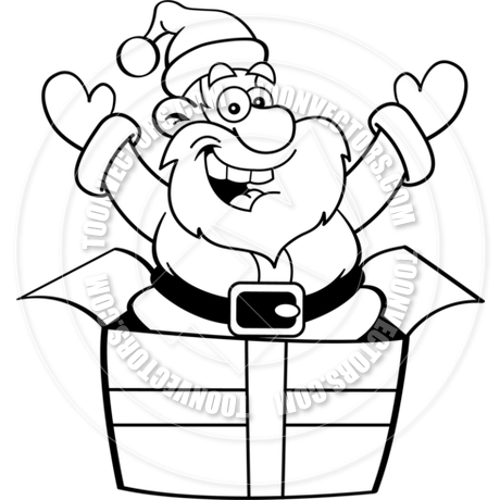 460x460 Cartoon Santa Claus Jumping Out Of A Gift Box (Black Amp White Line