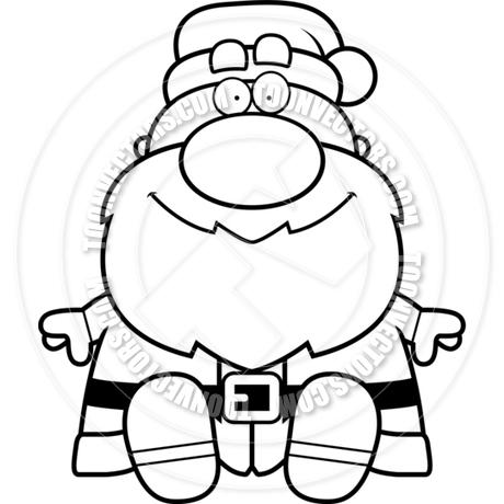 460x460 Cartoon Santa Claus Sitting (Black And White Line Art) By Cory
