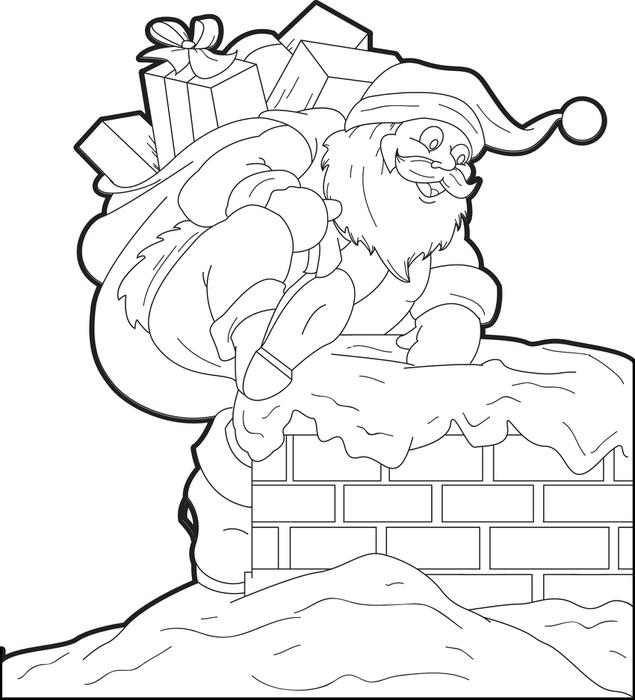 635x700 Free Printable Santa Claus Coloring Page For Kids