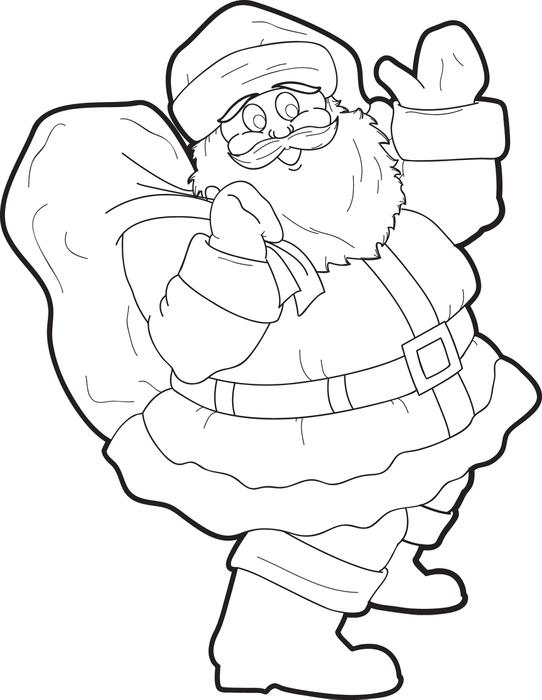 542x700 Free Printable Santa Claus Coloring Page For Kids