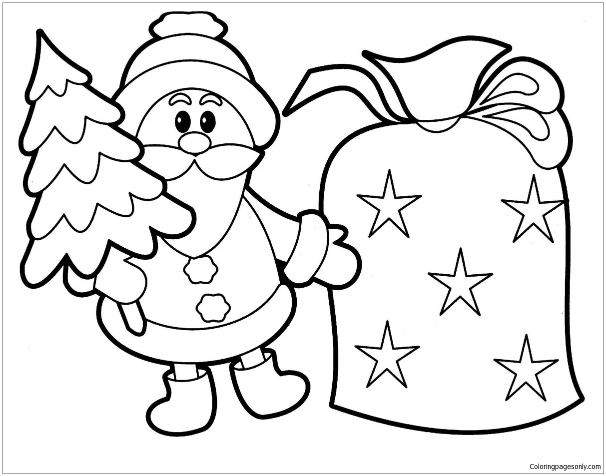 1213x953 Santa Claus And Bell Christmas Coloring Page