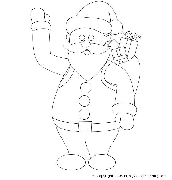 600x630 Santa Claus And Christmas Presents Coloring Page