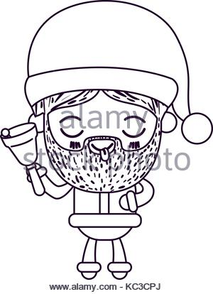 300x414 Santa Claus Cartoon Holding Hand Bell Face Expression Tongue Out