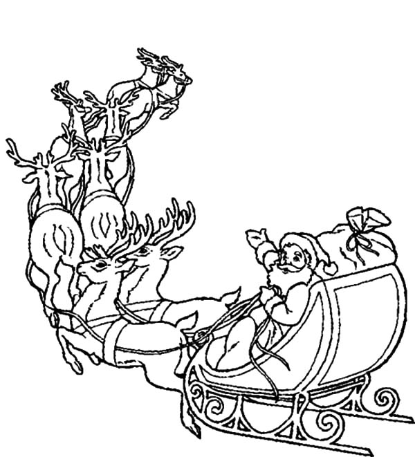 600x661 santa in a sleigh coloring pages