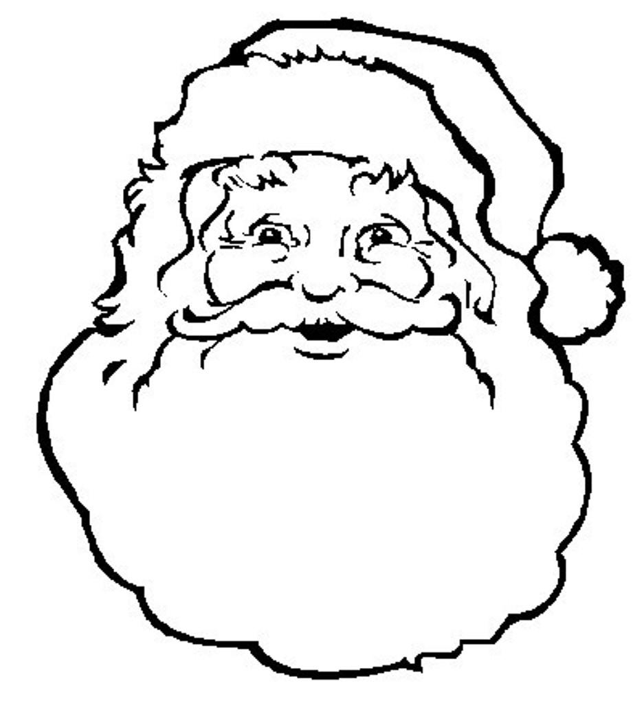 934x1020 Santa Face Coloring Page