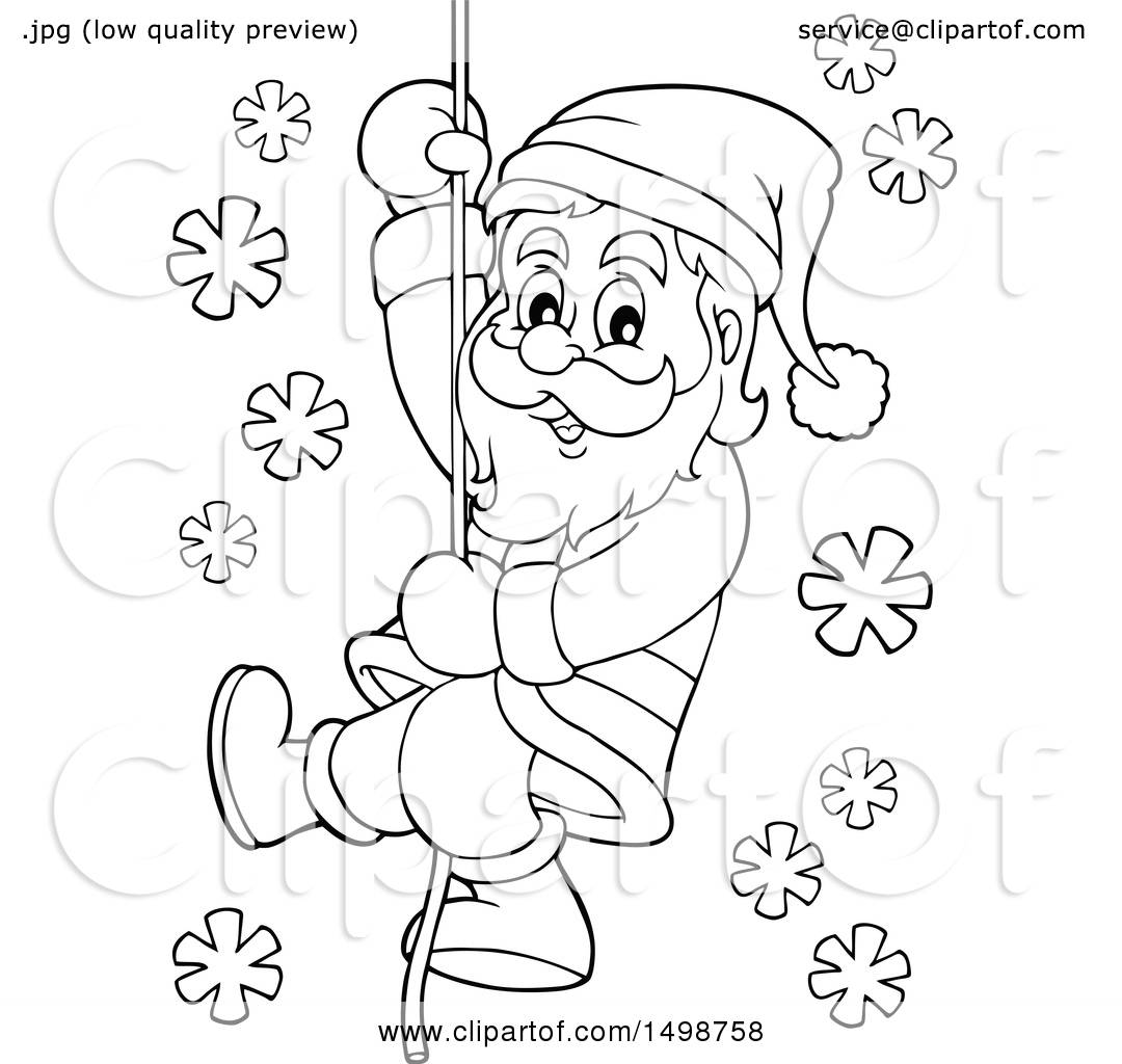 1080x1024 Clipart Of A Black And White Christmas Santa Claus Climbing A Rope