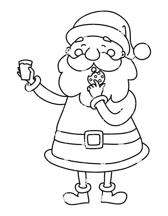 585x755 Cute Santa Claus Eating Cookie Holding Glass Of Milk Clipart
