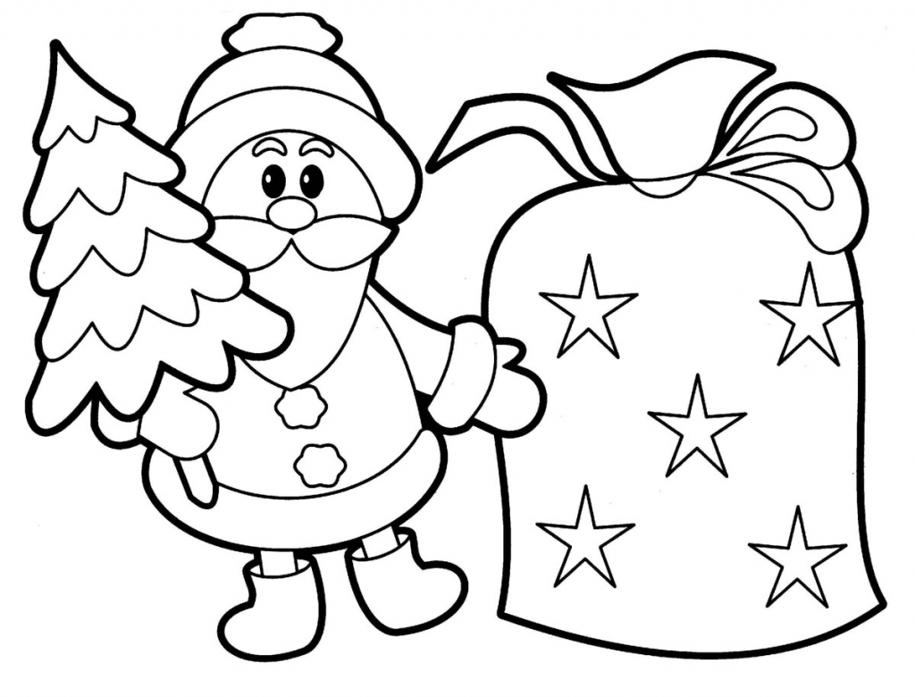 1024x780 Drawing For Children To Colour Free Printable Santa Claus Coloring