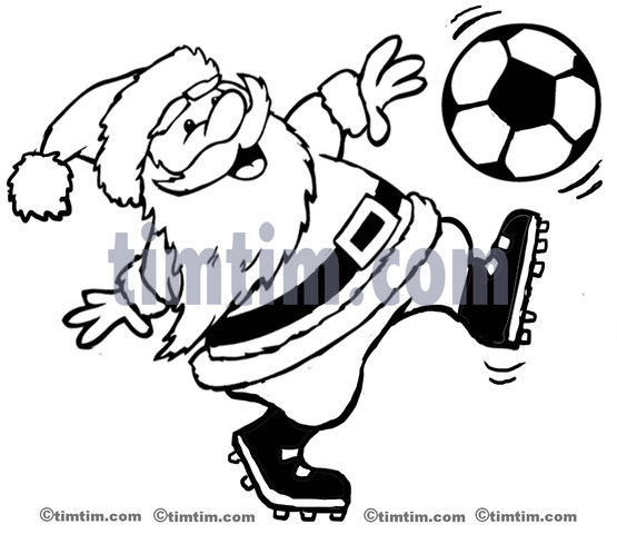 555x480 Free Drawing Of A Soccer Santa Bw From The Category Christmas