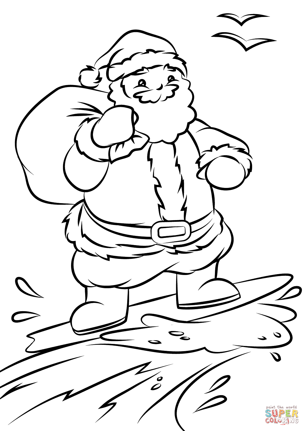 1060x1500 Santa Surfing Coloring Page Free Printable Pages