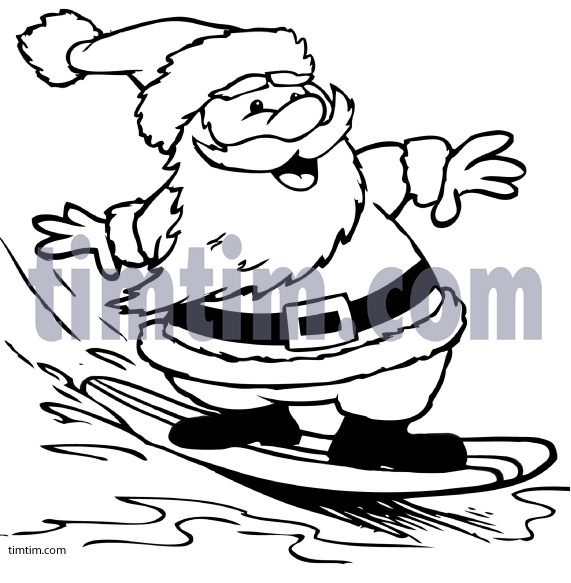 571x583 Surfboard Coloring Free Drawing Of A Surfing Santa Bw