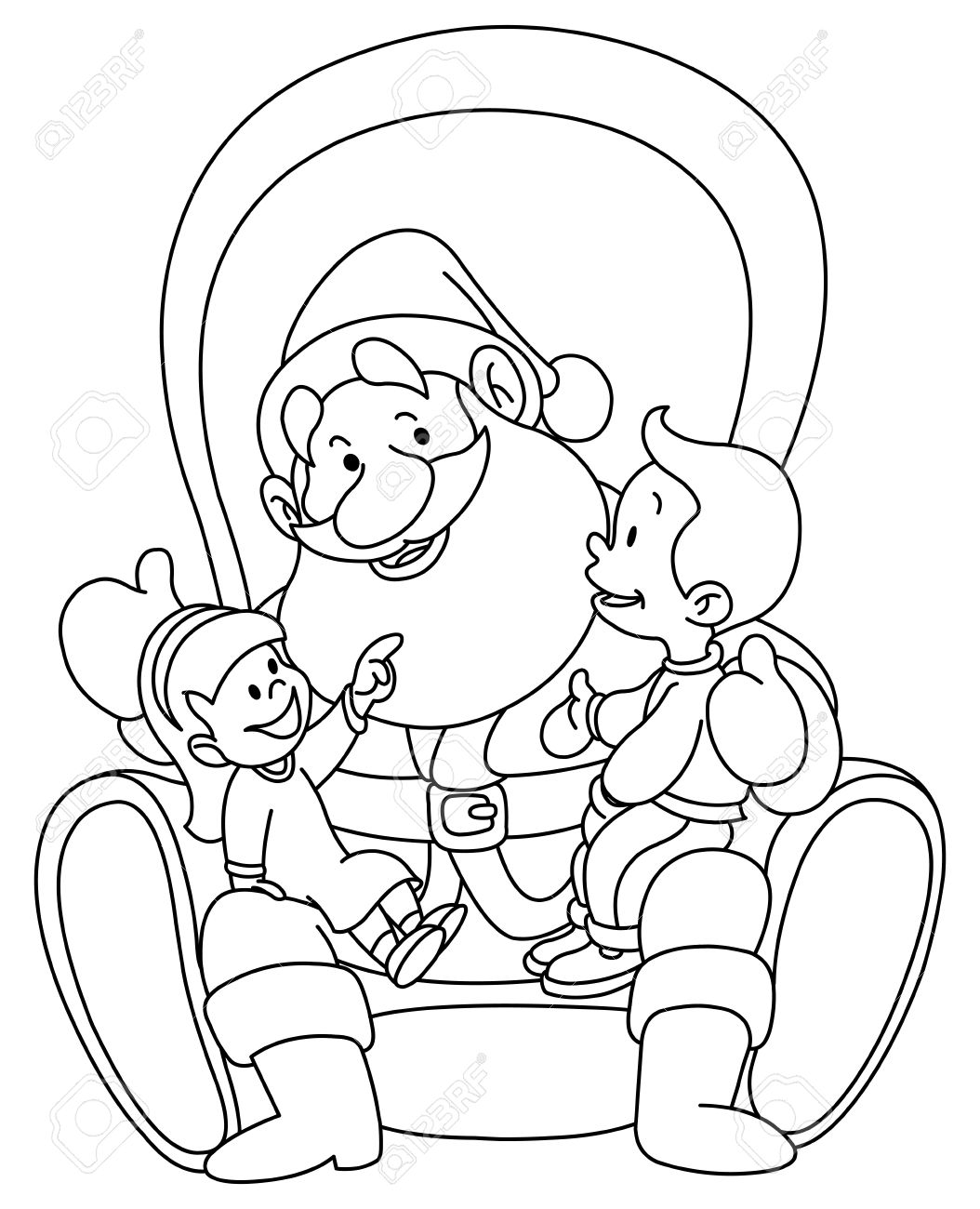 1054x1300 Outlined Illustration Of Kids Sitting On Santa Lap Coloring