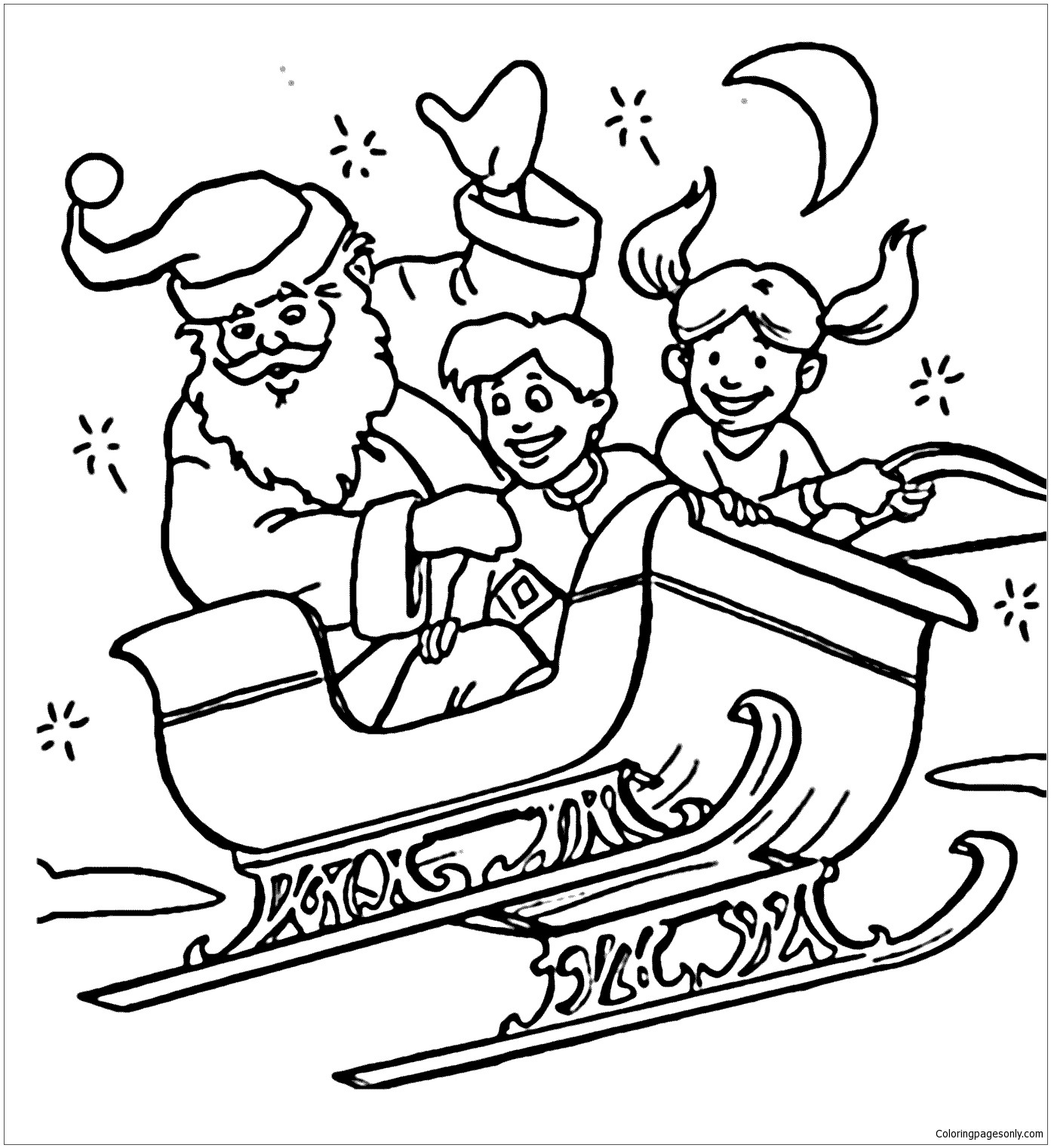 1393x1522 Santa Claus On Sleigh Coloring Pages For Kids Best Of Santa Claus