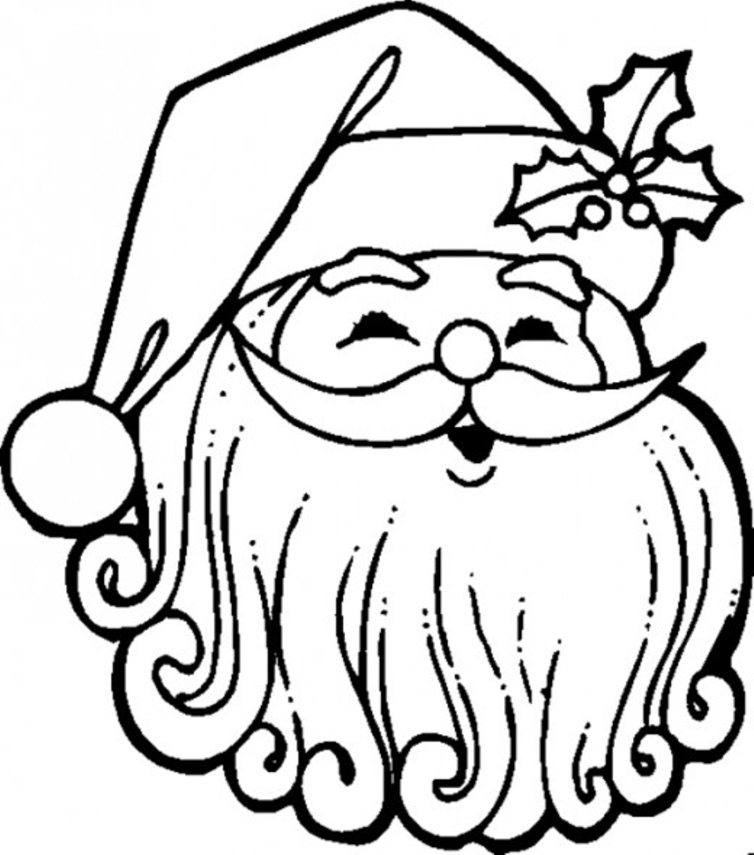1097x1245 Retro Santa Coloring Page Face And Template Free Claus For Kid Aksfm