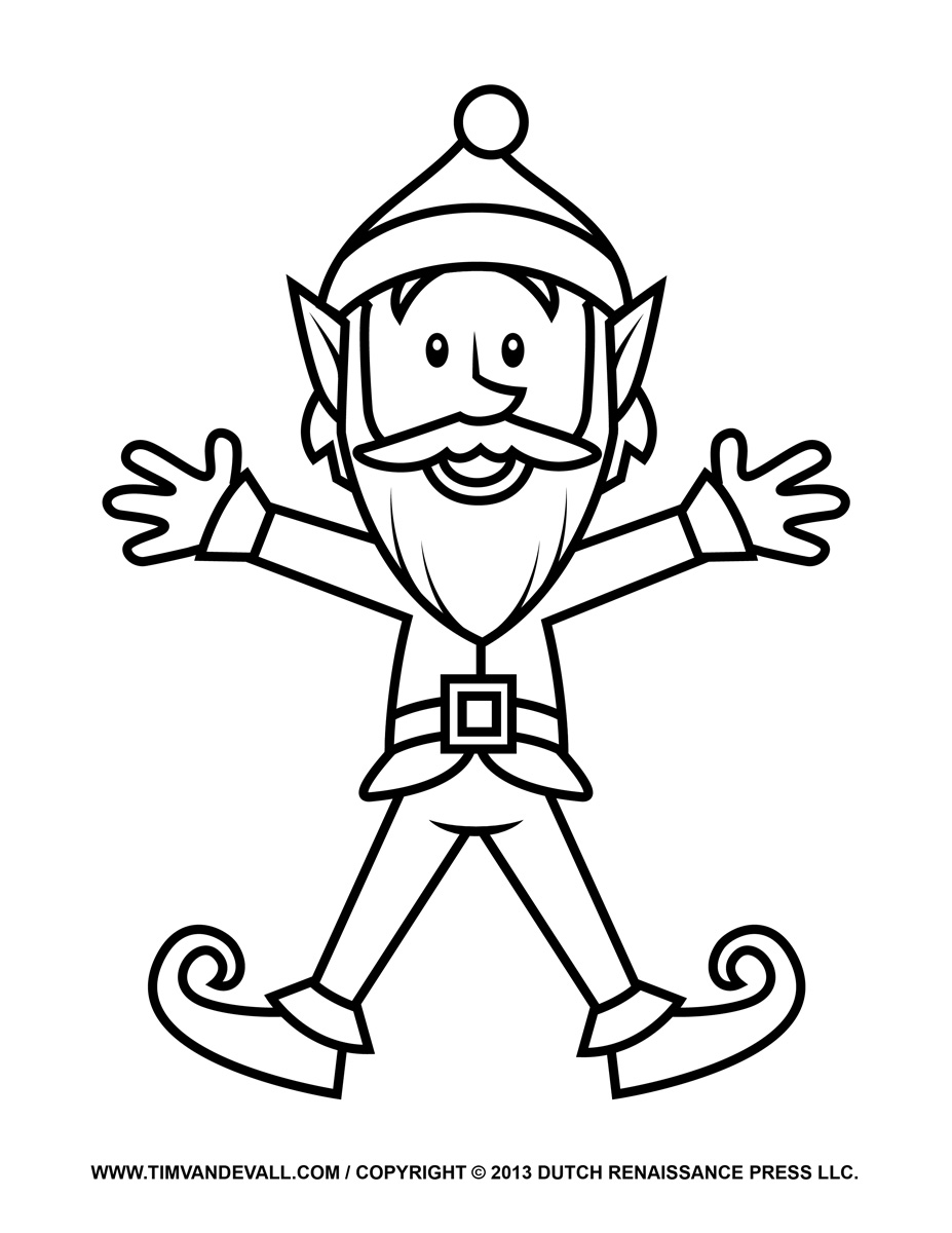 927x1200 elf clipart black and white