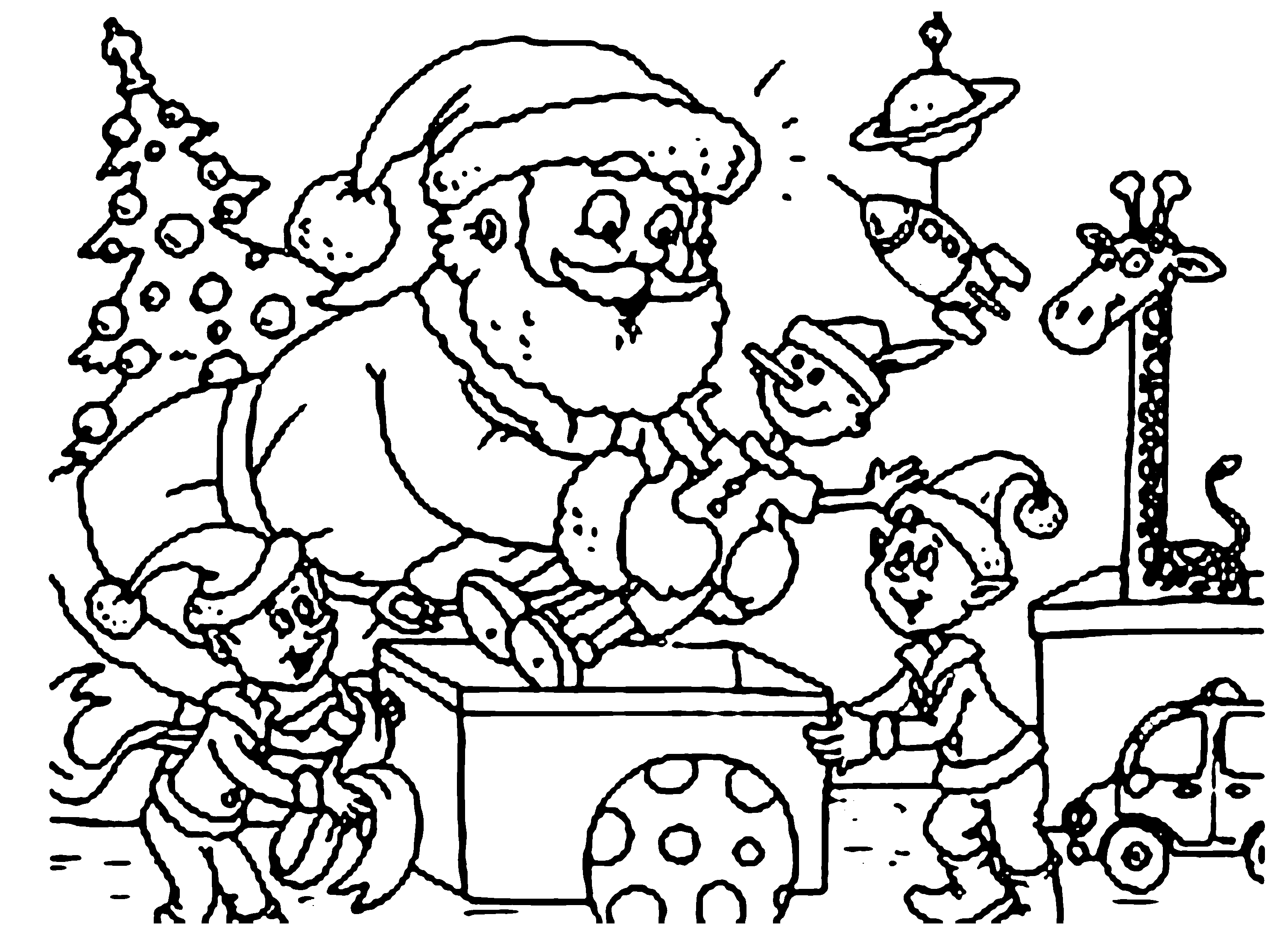 3016x2182 elves coloring pages - Coloring Pictures Of Santa Claus