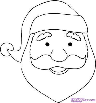 370x400 How To Draw A Cartoon Santa Face Santa Face, Santa And Christmas