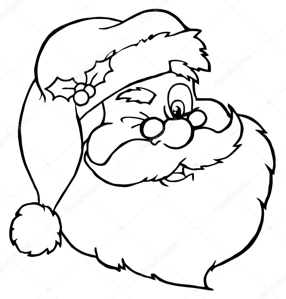 978x1023 Outlined Winking Santa Face Stock Photo Hittoon