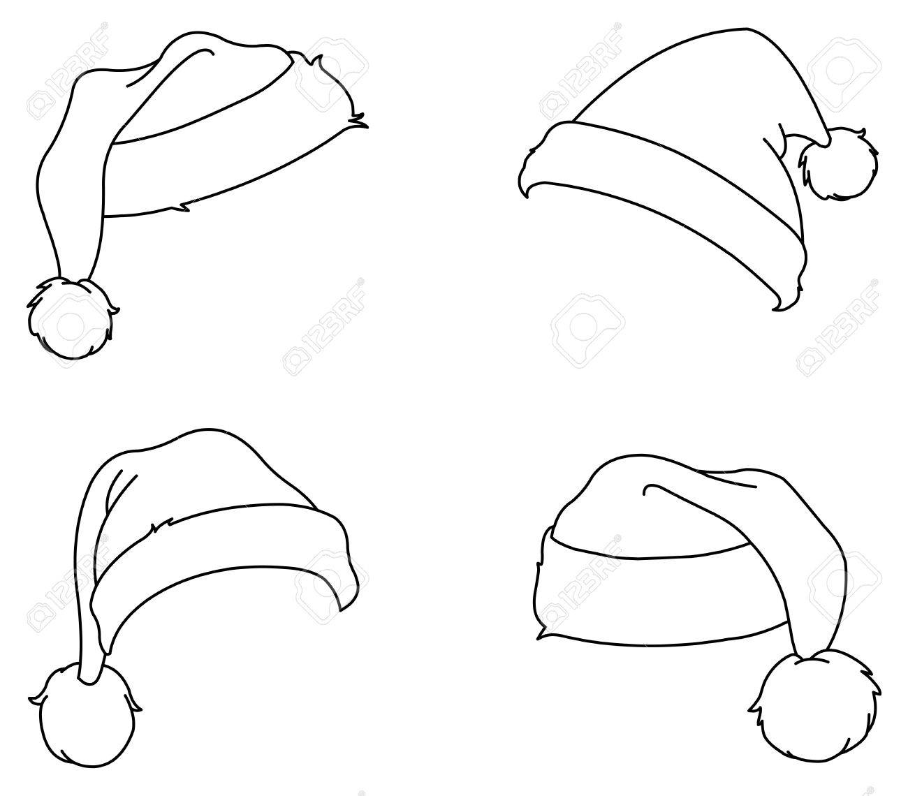 1300x1140 Outlined Santa Hats Royalty Free Cliparts, Vectors, And Stock