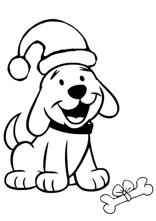 600x850 dog with santa hat coloring page cartoon dog with santa hat
