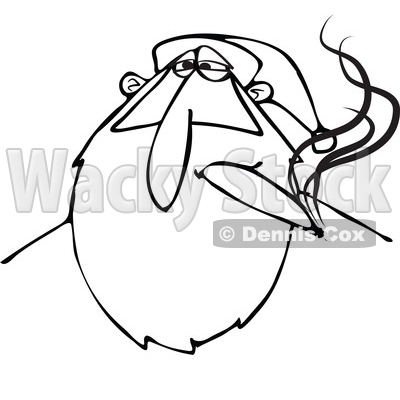 400x400 Of A Black And White Stoned Christmas Santa Claus Smoking A Joint