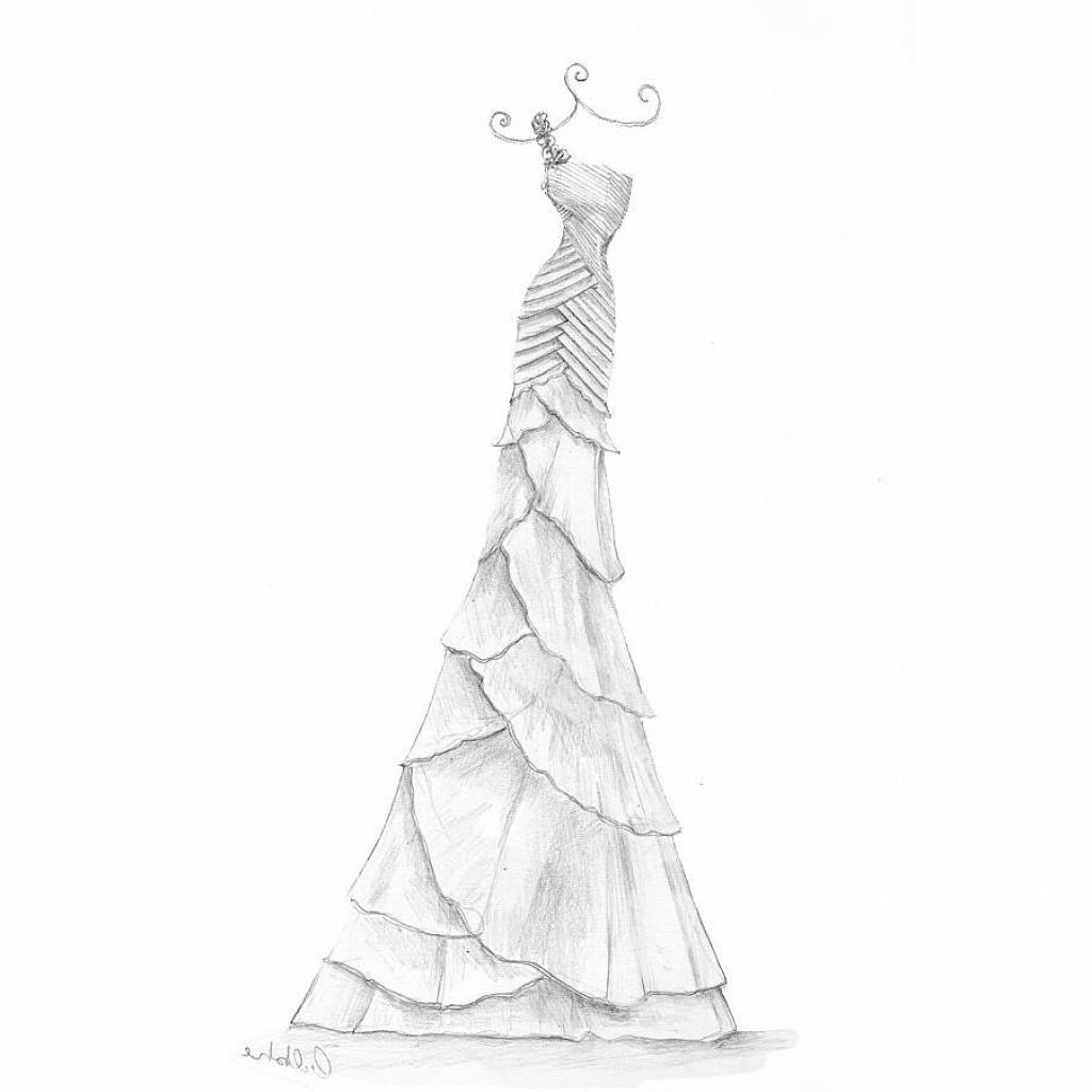 1024x1024 Girls Dress Pencil Sketches Pencil Sketches Of Dresses Wedding
