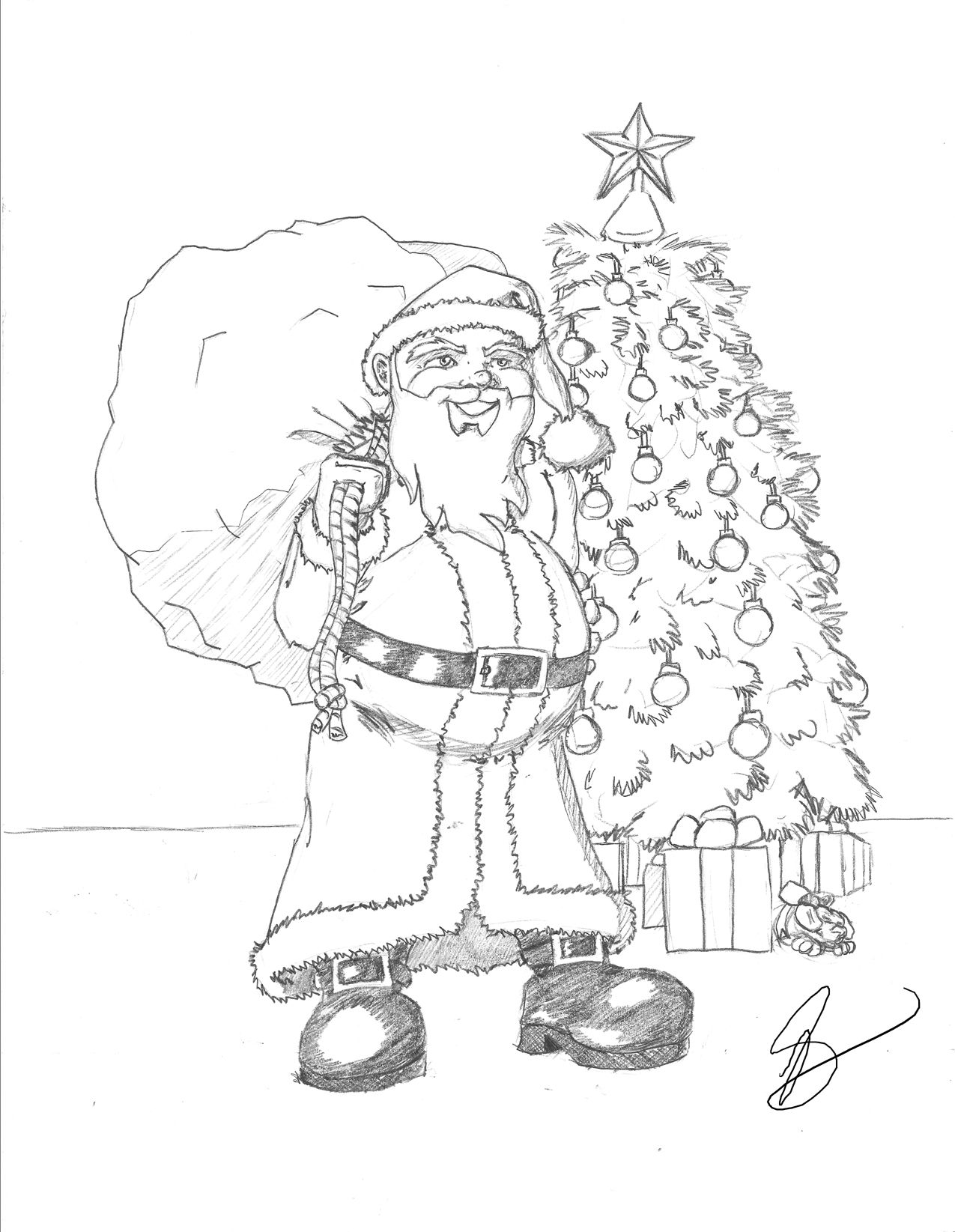 1275x1645 Santa Sketches For Drawing Christmas Drawings For Creative Family