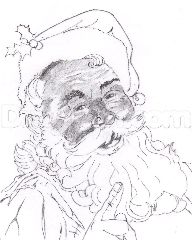 1199x1500 How To Draw A Realistic Santa, Santa Claus Step 18 Santa