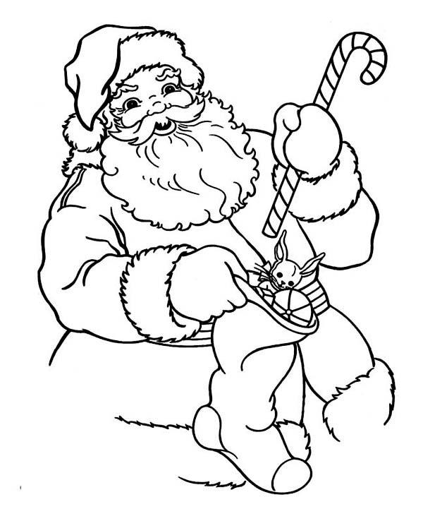 600x738 Santa Claus Holding A Candy Cane And Christmas Stocking