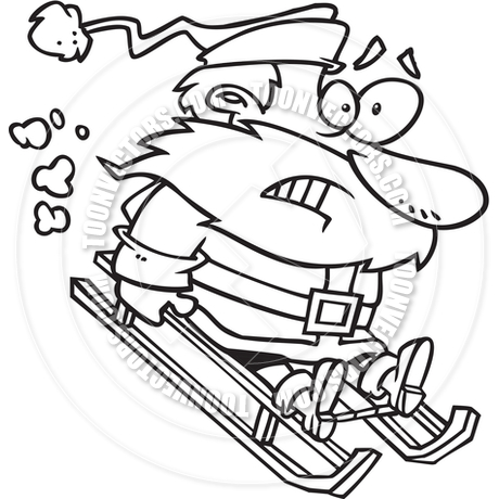 460x460 Cartoon Santa Sledding (Black And White Line Art) By Ron Leishman