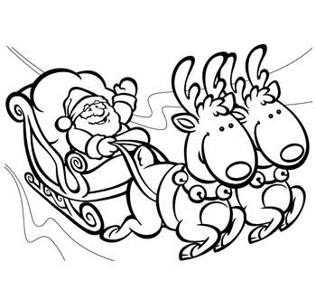 350x341 santa and his sleigh coloring pages santa sleigh and reindeer