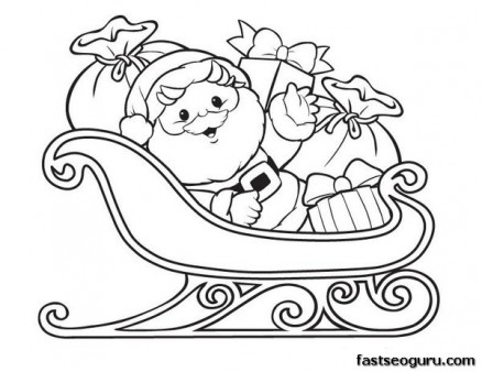 438x338 Printable Christmas Santa Claus With Sleigh And Gifts Coloring
