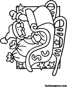 262x338 Printable Santa Sleigh Coloring Pages For Kids