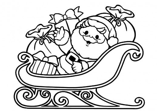 518x369 santa claus on a sleigh full of christmas present coloring pages