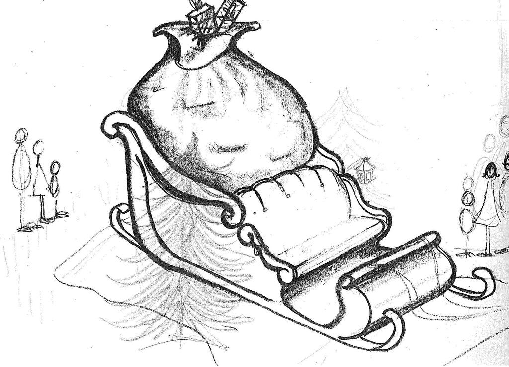1024x740 Santa Sleigh Bw Original Design Sketch I Did