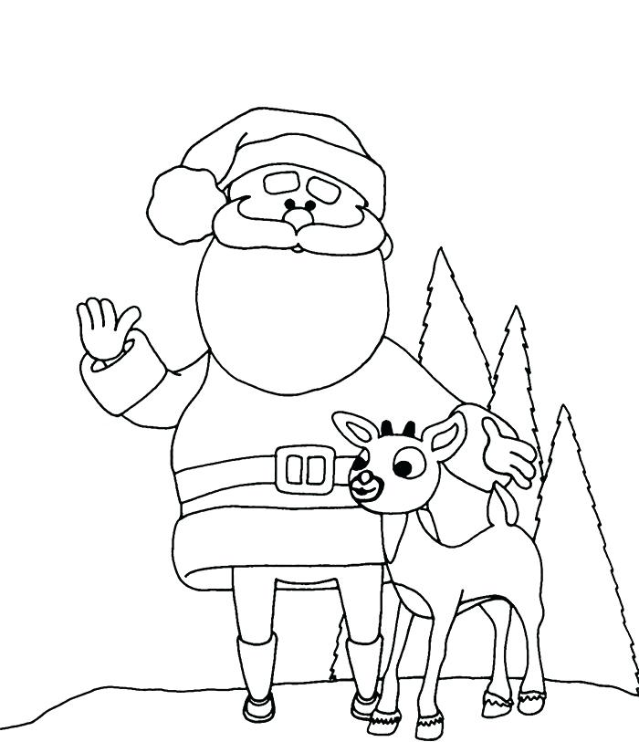 700x813 Coloring Page Santa With Rein Deer Coloring Page Coloring Page