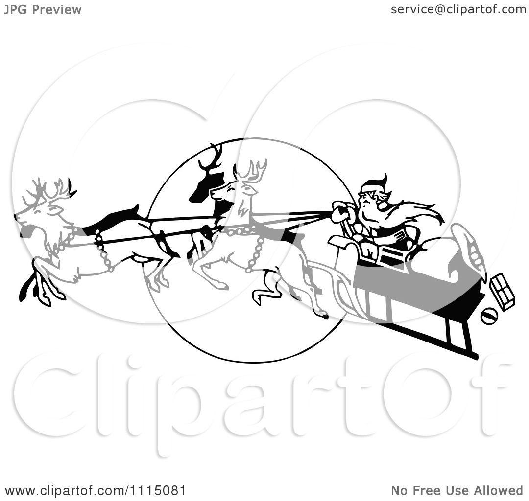 1080x1024 Clipart Vintage Black And White Flying Reindeer Leading Santas