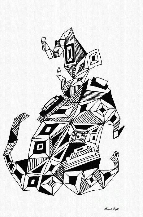 462x700 Geometric Dog Drawing By Sarah Loft