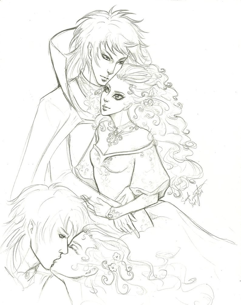 794x1007 Sweet Kiss Sarah And Jareth By Misschievious