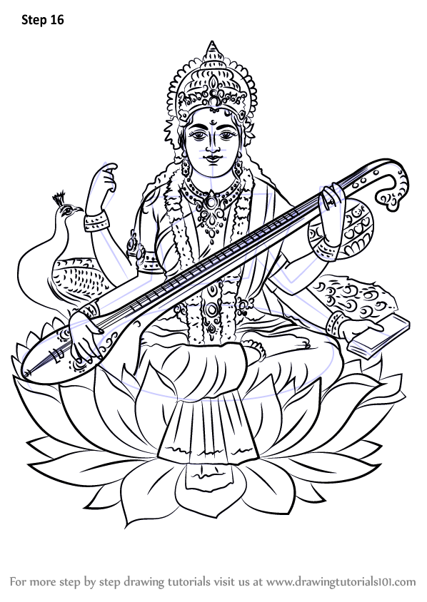 598x844 Learn How To Draw Saraswati (Hinduism) Step By Step Drawing