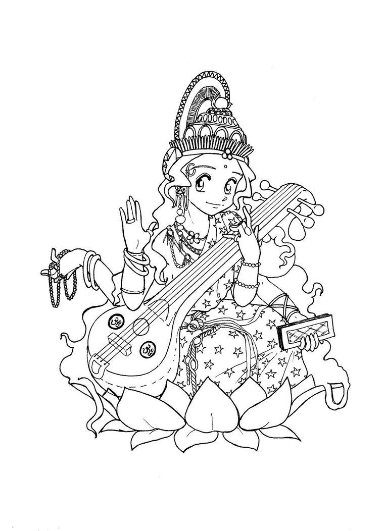 760x1052 Lineart Saraswati By Jishinchan