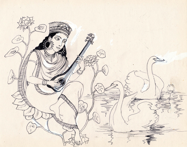 3001x2363 Lord Saraswati Pencil Shades Pictures