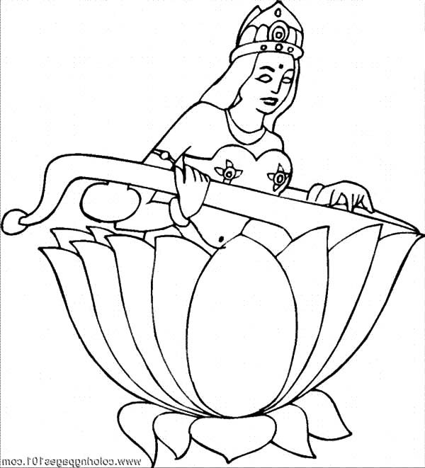600x661 Lotus Flower And Saraswati Coloring Pages Batch Coloring