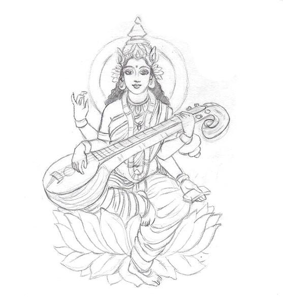 557x600 Saraswati Sketch By Coconutpocky Free Images