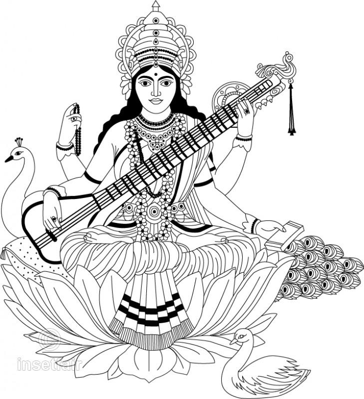 729x800 God Saraswati With Veena Line Art